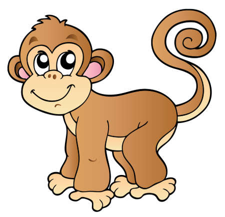 singes: Adorable petit singe - illustration.