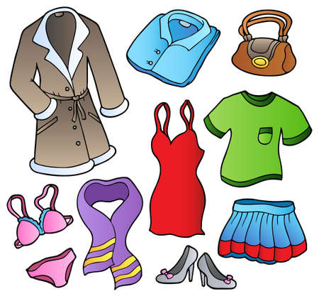 skirt suit: Dress collection 1 on white background - illustration. Illustration