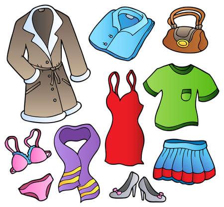 faldas: Visten colecci�n 1 sobre fondo blanco - ilustraci�n.