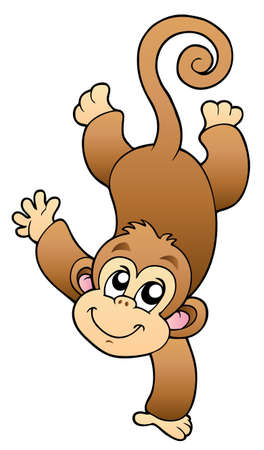 cute cartoon monkey: Funny cute monkey - illustration.