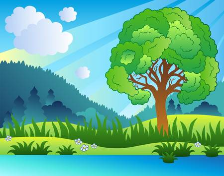 Landscape with leafy tree and lake - illustration. Stock Vector - 8475497