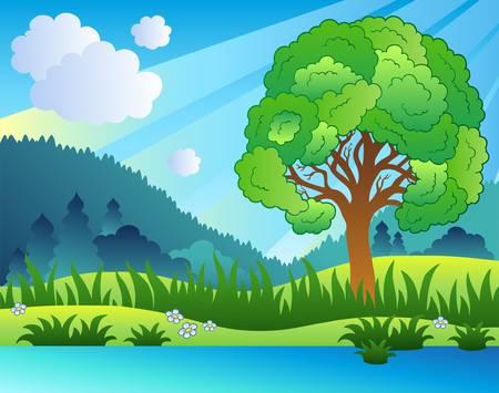 Paysage avec des arbres feuillus et lac - illustration.