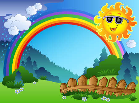 Landscape with rainbow and Sun - illustration. Illustration
