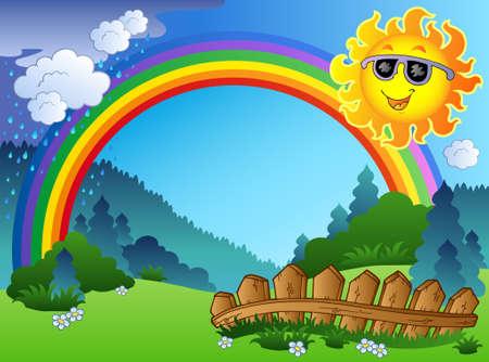 Paesaggio con rainbow e Sun - illustrazione. Archivio Fotografico - 8475491