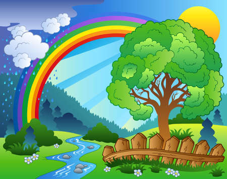 leafy: Landscape with rainbow and tree - illustration.