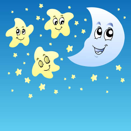 Night sky with cute stars and Moon - illustration.
