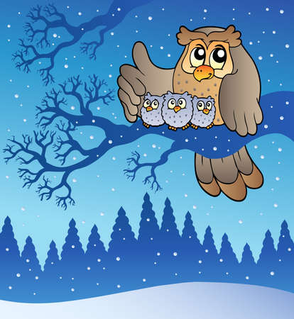 owl on branch: Owl family in winter - illustration.