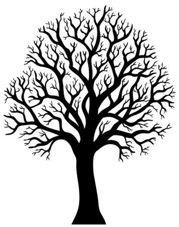 Silhouette of tree without leaf  - illustration.