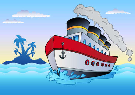 marine ship: Steamship sailing in sea - illustration.
