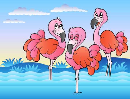 flamingi: Trzy flamingos stałego w wodzie - ilustracji.