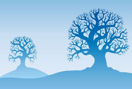 misty forest: Dos �rboles de oto�ales en niebla - ilustraci�n.