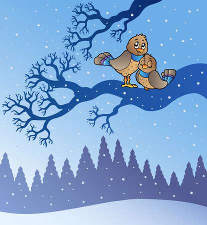 winterly: Two cute birds in snowy landscape - illustration.