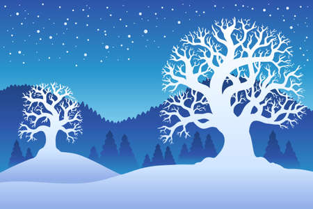 Two winter trees with snow  - illustration. Stock Vector - 8475503