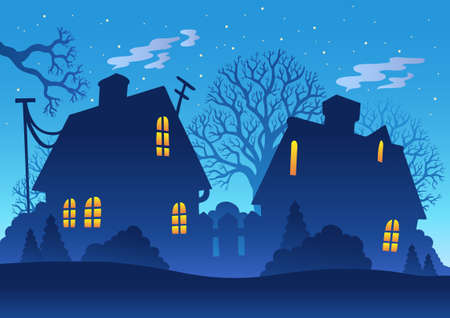 homestead: Village night silhouette - illustration. Illustration