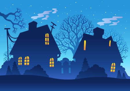 Village night silhouette - illustration. Stock Vector - 8475494