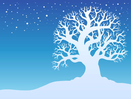 Winter tree with snow - illustration. Stock Vector - 8475506