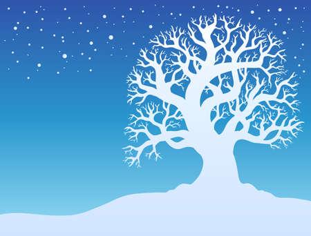 snowbank: Winter tree with snow - illustration.