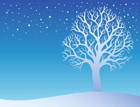 Winter tree with snow - illustration.