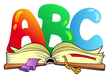 učebnice: Cartoon ABC letters with open book - vector illustration.