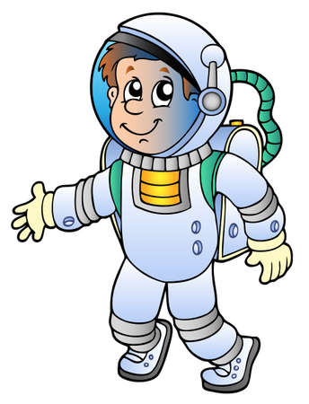 astronaut in space: Cartoon astronaut on white background - vector illustration. Illustration