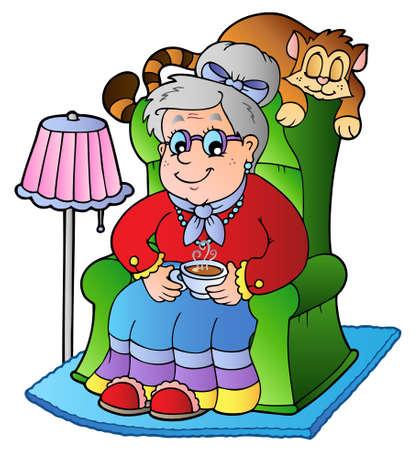 butacas: Abuela de dibujos animados sentado en el sill�n - ilustraci�n vectorial. Vectores