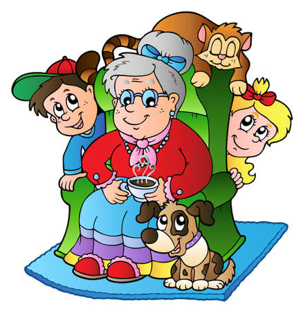 grandchildren: Cartoon grandma with two kids - vector illustration. Illustration