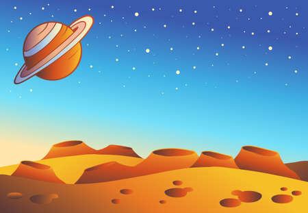 crater: Cartoon red planet landscape - vector illustration.