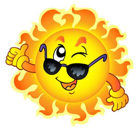 clin d oeil: Cartoon clin de ?il de soleil avec des lunettes de soleil - illustration vectorielle.