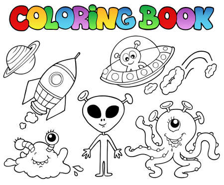 nave espacial: Coloring book with aliens - vector illustration. Ilustra��o