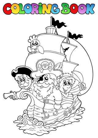 sombrero pirata: Libro para colorear con piratas 2 - ilustraci�n vectorial. Vectores