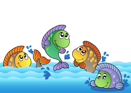 freshwater fish: Cute freshwater fishes in river - vector illustration.