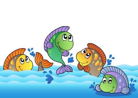 escamas de peces: Lindos peces de agua dulce en el r�o - ilustraci�n vectorial.  Vectores