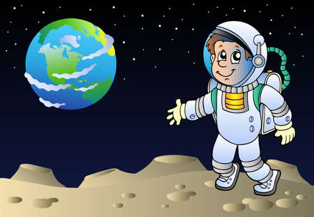 crater: Moonscape with cartoon astronaut - vector illustration.