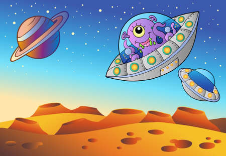 ufo: Red planet with flying saucers - vector illustration.