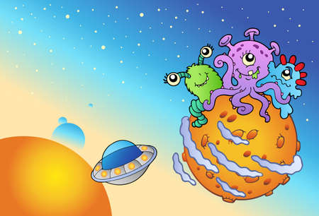 saucer: Spacescape with three cute aliens - vector illustration.