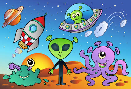 platillo volador: Diversos extranjero y espacio caricaturas - ilustraci�n vectorial. Vectores