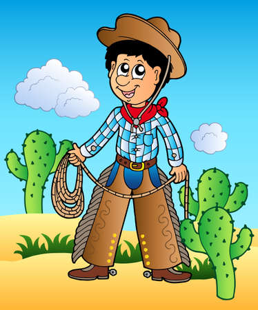 Cartoon cowboy in desert Stock Vector - 8799876
