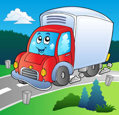 moving truck: Cartoon delivery truck on road