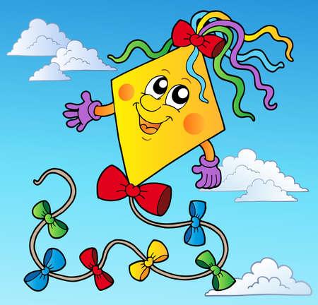 Cartoon kite on blue sky