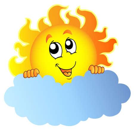 cartoon cloud: Cartoon Sun holding cloud