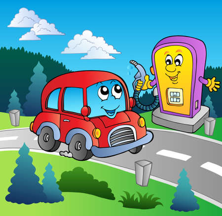 petrol station: Cute car at cartoon gas station Illustration
