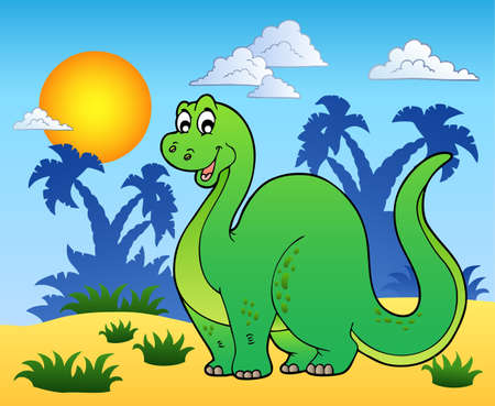 big smile: Dinosaur in prehistoric landscape