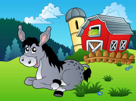 farmhouses: Lying donkey near farm