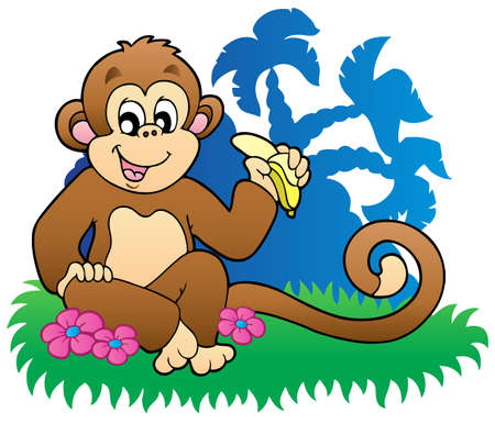 eating banana: Monkey eating banana near palms