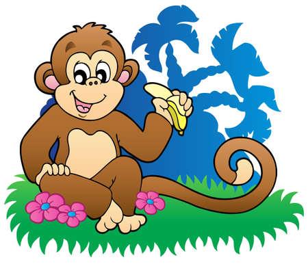 banaan cartoon: Monkey eten van bananen in de buurt van palmen