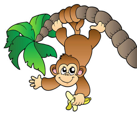 cute cartoon monkey: Monkey hanging on palm tree