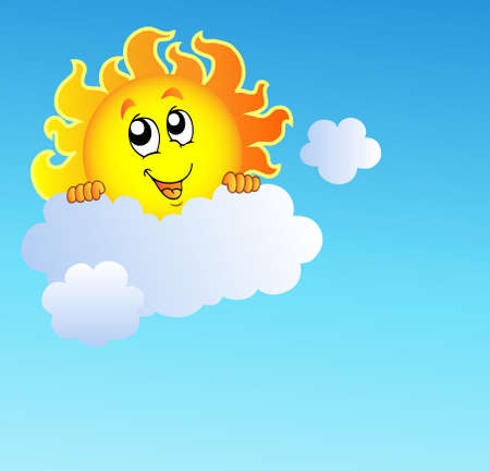 Sun holding cloud on blue sky Ilustracja