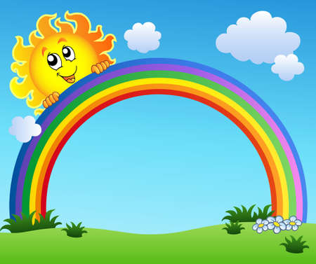 rainbow colours: Sun holding rainbow on blue sky Illustration