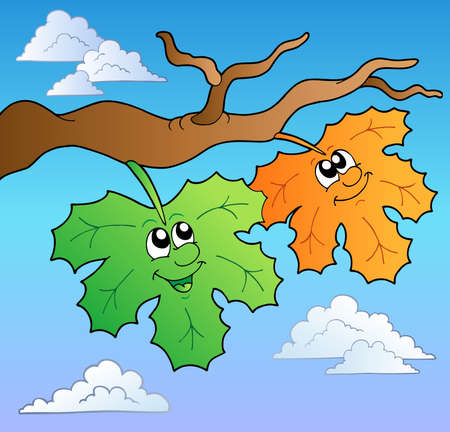 Two cartoon autumn leaves on sky Vector