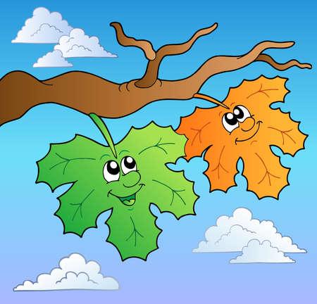 Two cartoon autumn leaves on sky Stock Vector - 8799809
